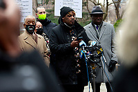 NEW YORK, NEW YORK-JANUARY 11: Civil Rights Attorney Ben Crump, Keyon Harrold, Sr., Kat Rodriguez, parents of Keyon Harrold, Jr., Gewn Carr, mother of Eric Garner and Rev, Al Sharpton attend press conference updating the public on the arresting of Miya Ponsetta for assault, attempted robbery, addressing the concerns on racial profiling and calling on the Arlo Hotel to apologize for the mishandling of the attack on the guest, 14-year old Keyon Harrold Jr. by Miya Ponsetta who violently attacked and accused Keyon Harrold Jr. of theft of her cell phone, which was later found by a driver of a car service several weeks prior. Press conference was held at City Hall Park on January 11, 2021.    <br /> CAP/MPI43<br /> ©MPI43/Capital Pictures