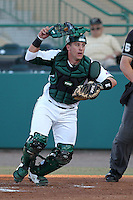 South Florida Bulls catcher Chris Norton #31 chases down a ball during a game against the Illinois State Redbirds at the USF Baseball Complex on March 14, 2012 in Tampa, Florida.  South Florida defeated Illinois State 10-5.  (Mike Janes/Four Seam Images)