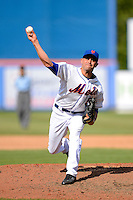 New York Mets pitcher Carlos Torres #52 during an exhibition game against the Michigan Wolverines at Tradition Field on February 24, 2013 in St. Lucie, Florida.  New York defeated Michigan 5-2.  (Mike Janes/Four Seam Images)
