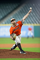 Sam Houston State Bearkats starting pitcher Seth Ballew (11) delivers a pitch to the plate against the Mississippi State Bulldogs in game eight of the 2018 Shriners Hospitals for Children College Classic at Minute Maid Park on March 3, 2018 in Houston, Texas.  The Bulldogs defeated the Bearkats 4-1.  (Brian Westerholt/Four Seam Images)