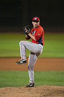Orem Owlz relief pitcher Jake Lee (30) delivers a pitch during a Pioneer League game against the Helena Brewers at Kindrick Legion Field on August 21, 2018 in Helena, Montana. The Orem Owlz defeated the Helena Brewers by a score of 6-0. (Zachary Lucy/Four Seam Images)