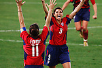 ATHENS - AUGUST 26:  Mia Hamm of the United States exults after the USA defeated Brazil to win the Gold Medal in women's soccer at the Summer Olympic Games on August 26, 2004 in Athens, Greece.  Editorial use only.  Commercial use prohibited.  (Photograph by Jonathan Paul Larsen)