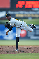 West Virginia Power starting pitcher Domingo Robles (25) follows through on his delivery against the Kannapolis Intimidators at Kannapolis Intimidators Stadium on July 25, 2018 in Kannapolis, North Carolina. The Intimidators defeated the Power 6-2 in 8 innings in game one of a double-header. (Brian Westerholt/Four Seam Images)