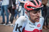 Nils Politt (GER/Katusha Alpecin) post race.<br /> <br /> 116th Paris-Roubaix (1.UWT)<br /> 1 Day Race. Compiègne - Roubaix (257km)