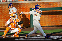 LSU Tigers designated hitter Cade Beloso (24) at bat against the Tennessee Volunteers on Robert M. Lindsay Field at Lindsey Nelson Stadium on March 26, 2021, in Knoxville, Tennessee. (Danny Parker/Four Seam Images)