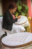France, île de la Réunion, Parc national de La Réunion, classé Patrimoine Mondial de l'UNESCO, Cirque de CIlaos, Cilaos,  Marie-Lucienne Techer, dentellière, dentelle de Cilaos    //  France, Reunion island (French overseas department), Parc National de La Reunion (Reunion National Park), listed as World Heritage by UNESCO, cirque of Cilaos,  Cilaos, Marie Lucienne Techer, lacemaker, Cilaos lace <br /> <br /> Auto N°: 2014-104