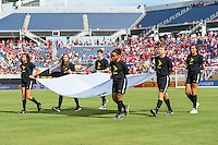 Orlando, Florida - Saturday, June 04, 2016: Flag kids walk onto the field during the pre-game ceremony during a Group A Copa America Centenario match between Costa Rica and Paraguay at Camping World Stadium.