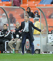 Washington D.C. - March 29, 2014:  D.C. United Head Coach Ben Olsen. The Chicago Fire tied D.C. United 2-2 during a Major League Soccer match for the 2014 season at RFK Stadium.