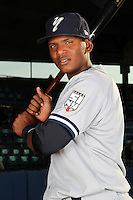 Staten Island Yankees shortstop Jose Mojica poses for a photo before a game vs. the Jamestown Jammers at Russell Diethrick Park in Jamestown Jammers, New York July 15, 2010.   Jamestown defeated Staten Island 5-1.  Photo By Mike Janes/Four Seam Images