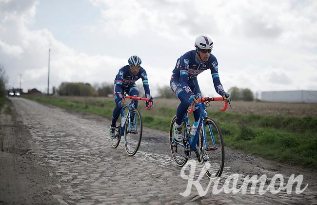 Dimitri Claeys (BEL/Wanty-Groupe Gobert) & Marco Marcato (ITA/Wanty-Groupe Gobert)<br /> <br /> recon of the 114th Paris - Roubaix 2016