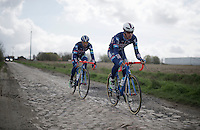 Dimitri Claeys (BEL/Wanty-Groupe Gobert) & Marco Marcato (ITA/Wanty-Groupe Gobert)<br /> <br /> recon of the 114th Paris - Roubaix 2016