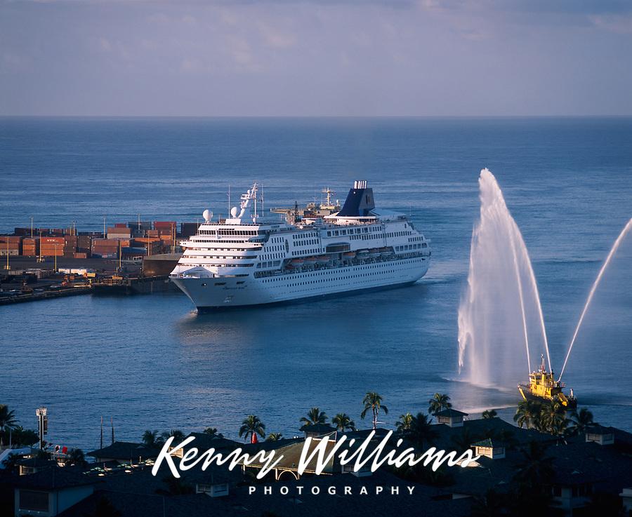 Cruise Ship with Aloha Fireboat Greeting, Honolulu Harbor, Oahu, Hawaii, USA.