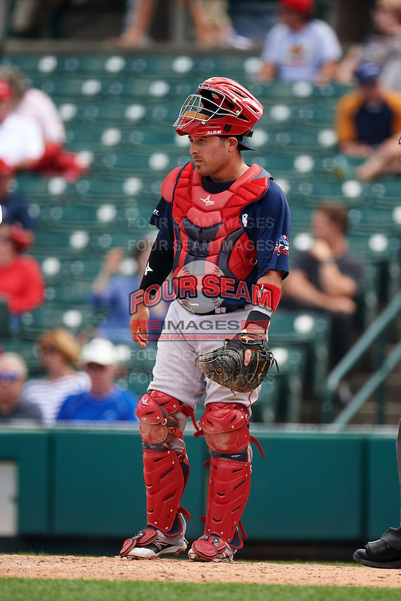 Pawtucket Red Sox catcher Ali Solis (3) during a game against the Rochester Red Wings on June 29, 2016 at Frontier Field in Rochester, New York.  Pawtucket defeated Rochester 3-2.  (Mike Janes/Four Seam Images)