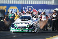 Feb. 19, 2012; Chandler, AZ, USA; NHRA funny car driver Mike Neff during the Arizona Nationals at Firebird International Raceway. Mandatory Credit: Mark J. Rebilas-