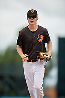 GCL Orioles center fielder Mason Janvrin (2) jogs to the dugout during a Gulf Coast League game against the GCL Braves on August 5, 2019 at Ed Smith Stadium in Sarasota, Florida.  GCL Orioles defeated the GCL Braves 4-3 in the second game of a doubleheader.  (Mike Janes/Four Seam Images)