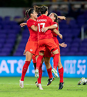 ORLANDO, FL - FEBRUARY 21: Sarah Stratigakis #10 of Canada celebrates her goal with Jessie Fleming #17 during a game between Canada and Argentina at Exploria Stadium on February 21, 2021 in Orlando, Florida.