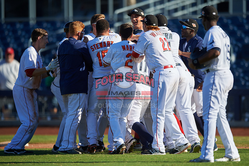 Peoria Javelinas Franchy Cordero (hidden), of the San Diego Padres organization, is mobbed by teammates including Zach Vincej (3), D.J. Stewart (15), Adrian Marin (2), and Chad Wallach (22) after a walk off base hit during a game against the Scottsdale Scorpions on October 22, 2016 at Peoria Stadium in Peoria, Arizona.  Peoria defeated Scottsdale 3-2.  (Mike Janes/Four Seam Images)