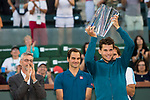 March 17, 2019: Dominic Thiem (AUT) celebrates after he defeated Roger Federer (SUI) 6-3, 3-6, 7-5 in the finals of the BNP Paribas Open at the Indian Wells Tennis Garden in Indian Wells, California. ©Mal Taam/TennisClix/CSM