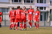 Kenza Vrithof (9) of Woluwe  pictured celebrating the opening goal with her teammates during a female soccer game between FC Femina White Star Woluwe and SV Zulte Waregem on the fifth matchday of play off 2 in the 2020 - 2021 season of Belgian Scooore Womens Super League , Saturday 8 th of May 2021  in Woluwe , Belgium . PHOTO SPORTPIX.BE | SPP | DAVID CATRY