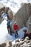 Mountain climbers coming off of Mont-Blanc at Aiguille du Midi in France