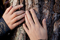 Hands of Sophie Serrano (right) and her daughter Manon (left), Thorenc, France, 11 November 2013