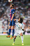 Sergi Roberto Carnicer of FC Barcelona heads the ball as Marcelo Vieira Da Silva of Real Madrid looks on during their Supercopa de Espana Final 2nd Leg match between Real Madrid and FC Barcelona at the Estadio Santiago Bernabeu on 16 August 2017 in Madrid, Spain. Photo by Diego Gonzalez Souto / Power Sport Images