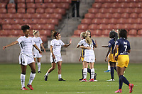 SANDY, UT - OCTOBER 03: Portland Thorns FC and Utah Royals FC players exchange pleasantries after a game between Portland Thorns FC and Utah Royals FC at Rio Tinto Stadium on October 03, 2020 in Sandy, Utah.