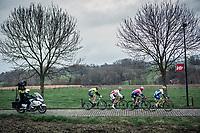 Early Breakaway group during their 2nd passage over the 'Haaghoek' cobbles.  Tom Devriendt (BEL/Wanty Group Gobert), Roy Jans (BEL/Corendon Circus), Alex Howes (USA/EF Education First), Tom Wirtgen (LUX/Wallonie Bruxelles)<br /> <br /> 74th Omloop Het Nieuwsblad 2019 (BEL)<br /> Gent – Ninove: 200km<br /> ©kramon