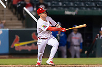 Springfield Cardinals left fielder Tyler O'Neill (40) hits a home run during a rehab assignment in a Texas League game against the Amarillo Sod Poodles on April 25, 2019 at Hammons Field in Springfield, Missouri. Springfield defeated Amarillo 8-0. (Zachary Lucy/Four Seam Images)