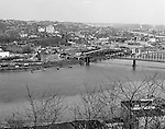 Pittsburgh PA:  View of Pittsburgh's north side.  The view includes the Manchester Bridge, warehouses, Clark Candies factory, and Allegheny General Hospital in the background.