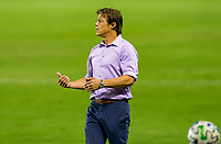 CARSON, CA - OCTOBER 14: Matias Almeyda head coach of the San Jose Earthquakes yells out directions to his players during a game between San Jose Earthquakes and Los Angeles Galaxy at Dignity Heath Sports Park on October 14, 2020 in Carson, California.