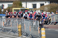 peloton speeding towards a bunch sprint<br /> <br /> 45th Oxyclean Classic Brugge-De Panne 2021 (ME/1.UWT)<br /> 1 day race from Bruges to De Panne (204km)<br /> <br /> ©kramon