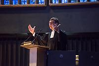 """""""Beten fuer den Sieg?"""" - oekumenischer Gottesdienst zum DFB-Pokalfinale am 25. Mai 2019 in Berlin in der Kaiser-Wilhelm-Gedaechtnis-Kirche.<br /> Im Bild: Dr. Dr. h. c. Volker Jung (Darmstadt), Sportbeauftragter des Rates der Evangelischen Kirche in Deutschland (EKD) und Kirchenpraesident der Evangelischen Kirche in Hessen und Nassau.<br /> 25.5.2019, Berlin<br /> Copyright: Christian-Ditsch.de<br /> [Inhaltsveraendernde Manipulation des Fotos nur nach ausdruecklicher Genehmigung des Fotografen. Vereinbarungen ueber Abtretung von Persoenlichkeitsrechten/Model Release der abgebildeten Person/Personen liegen nicht vor. NO MODEL RELEASE! Nur fuer Redaktionelle Zwecke. Don't publish without copyright Christian-Ditsch.de, Veroeffentlichung nur mit Fotografennennung, sowie gegen Honorar, MwSt. und Beleg. Konto: I N G - D i B a, IBAN DE58500105175400192269, BIC INGDDEFFXXX, Kontakt: post@christian-ditsch.de<br /> Bei der Bearbeitung der Dateiinformationen darf die Urheberkennzeichnung in den EXIF- und  IPTC-Daten nicht entfernt werden, diese sind in digitalen Medien nach §95c UrhG rechtlich geschuetzt. Der Urhebervermerk wird gemaess §13 UrhG verlangt.]"""