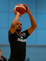 Lacey James of Surrey Scorchers with a free-throw during the BBL Championship match between Surrey Scorchers and Newcastle Eagles at Surrey Sports Park, Guildford, England on 20 March 2021. Photo by Liam McAvoy.