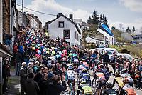 peloton up the iconic Côte de Saint-Roch in Houffalize<br /> <br /> 103rd Liège-Bastogne-Liège 2017 (1.UWT)<br /> One Day Race: Liège › Ans (258km)