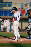 Mahoning Valley Scrappers Henry Pujols (8) at bat during a NY-Penn League game against the Hudson Valley Renegades on July 15, 2019 at Eastwood Field in Niles, Ohio.  Mahoning Valley defeated Hudson Valley 6-5.  (Mike Janes/Four Seam Images)
