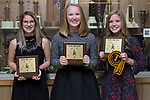 November 1, 2017- Tuscola, IL- Warrior Girls Cross Country award recipients. From left are Samantha Simpson (Warrior Spirit), Ashton Smith (Most Improved), and Brynn Tabeling (MVP/All-Conference). [Photo: Douglas Cottle]
