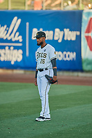 Jo Adell (26) right fielder of the Salt Lake Bees during the game against the El Paso Chihuahuas at Smith's Ballpark on August 17, 2019 in Salt Lake City, Utah. The Bees defeated the Chihuahuas 5-4. (Stephen Smith/Four Seam Images)