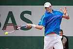 John Isner (USA) wins the first set tiebreaker against Tommy Robredo (ESP), 15-13,  at  Roland Garros being played at Stade Roland Garros in Paris, France on May 30, 2014