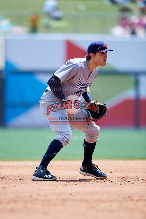 Pensacola Blue Wahoos third baseman Taylor Sparks (23) during a game against the Birmingham Barons on May 9, 2018 at Regions Field in Birmingham, Alabama.  Birmingham defeated Pensacola 16-3.  (Mike Janes/Four Seam Images)