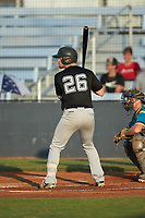 Chase Orrock (26) (Southeastern Community College) of the Concord A's at bat against the Mooresville Spinners at Moor Park on July 31, 2020 in Mooresville, NC. The Spinners defeated the Athletics 6-3 in a game called after 6 innings due to rain. (Brian Westerholt/Four Seam Images)