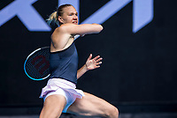 13th February 2021, Melbourne, Victoria, Australia; Kaia Kanepi of Estonia returns the ball during round 3 of the 2021 Australian Open on February 13 2020, at Melbourne Park in Melbourne, Australia.