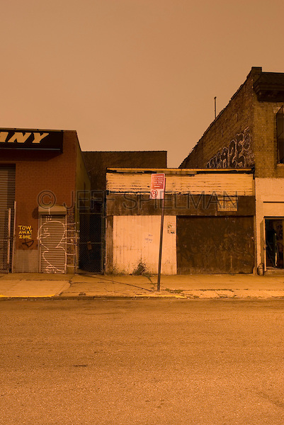 Mysterious Urban Street Scene at Night in the Williamsburg neighborhood of Brooklyn, New York City, New York State, USA