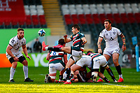 21st November 2020; Welford Road Stadium, Leicester, Midlands, England; Premiership Rugby, Leicester Tigers versus Gloucester Rugby; Richard Wigglesworth of Leicester Tigers box-kicks the ball clear at a ruck