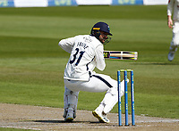 27th May 2021; Emirates Old Trafford, Manchester, Lancashire, England; County Championship Cricket, Lancashire versus Yorkshire, Day 1;  Will Fraine of Yorkshire watches a high ball from Saqib Mahmood of Lancashire go past his head into the hands of the keeper