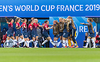 REIMS, FRANCE - JUNE 8: Maria Thorisdottir #3 and Isabell Herlovsen #9 of Norway celebrate a Norwegian goal with teammates during a 2019 FIFA Women's World Cup match between Norway and Nigeria at Stade Auguste-Delaune on June 8, 2019 in Reims, France.