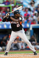 11 March 2009: #21 Eugene Kingsale of the Netherlands is seen at bat during the 2009 World Baseball Classic Pool D game 6 at Hiram Bithorn Stadium in San Juan, Puerto Rico. Puerto Rico wins 5-0 over the Netherlands
