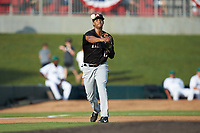 Kannapolis Intimidators third baseman Johan Cruz (13) makes a throw to first base against the Augusta GreenJackets at SRG Park on July 6, 2019 in North Augusta, South Carolina. The Intimidators defeated the GreenJackets 9-5. (Brian Westerholt/Four Seam Images)