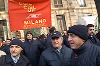 - sciopero dei lavoratori ATM (Azienda Trasporti Milanesi), manifestazione sindacale davanti alla sede dell'azienda....- strike of ATM (Milan Transport Company) workers, labor union demonstration in front of the company headquarters