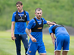 St Johnstone Training….29.06.19   McDiarmid Park, Perth<br />Matty Kennedy gives Wallace Duffy a pat on the back at the end of some pre season training runs<br />Picture by Graeme Hart.<br />Copyright Perthshire Picture Agency<br />Tel: 01738 623350  Mobile: 07990 594431